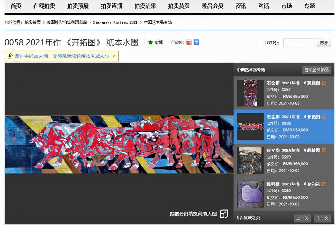 画家石金库——2021年美国杜邦拍卖中国艺术品专场作品成功拍卖